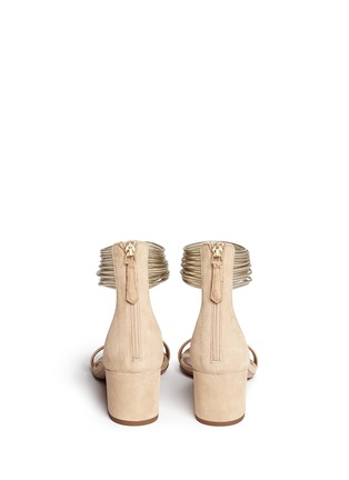 Back View - Click To Enlarge - Aquazzura - 'Spin Me Around' metallic anklet suede sandals