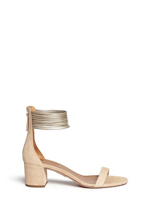 Main View - Click To Enlarge - Aquazzura - 'Spin Me Around' metallic anklet suede sandals