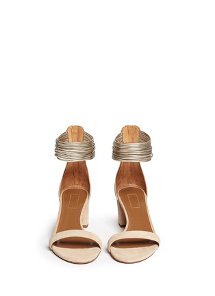 Figure View - Click To Enlarge - Aquazzura - 'Spin Me Around' metallic anklet suede sandals