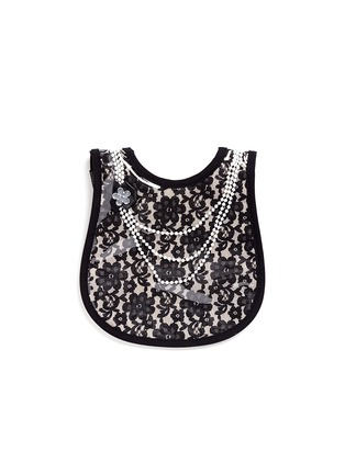 Main View - Click To Enlarge - Mini Maniacs - 'Dolled Up' faux pearl necklace lace bib