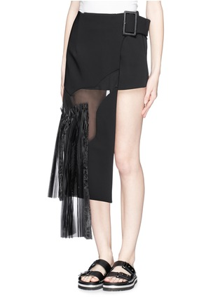Front View - Click To Enlarge - TOGA ARCHIVES - Asymmetric gauze pleat panel bonded skirt