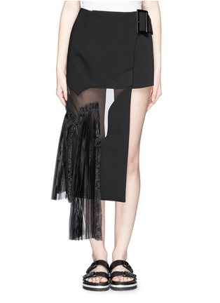 Main View - Click To Enlarge - TOGA ARCHIVES - Asymmetric gauze pleat panel bonded skirt