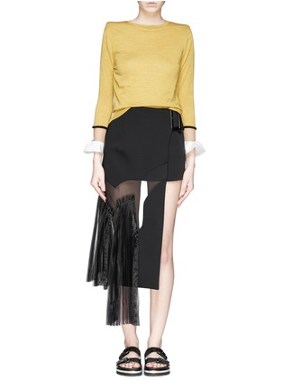 Figure View - Click To Enlarge - TOGA ARCHIVES - Asymmetric gauze pleat panel bonded skirt