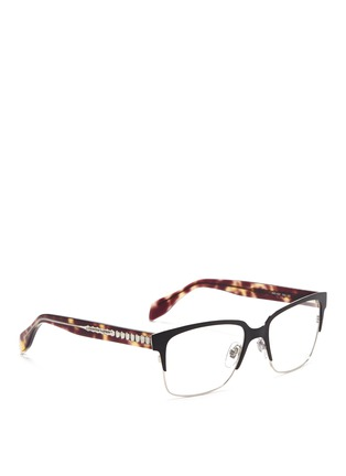 Figure View - Click To Enlarge - Alexander McQueen - Metal brow bar acetate optical glasses
