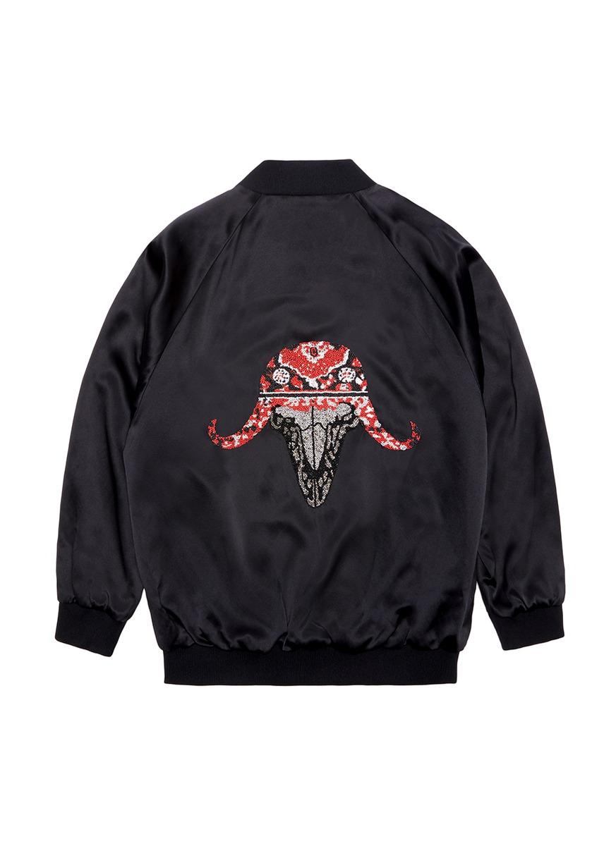 Ox embellished unisex silk satin bomber jacket by Jay Ahr