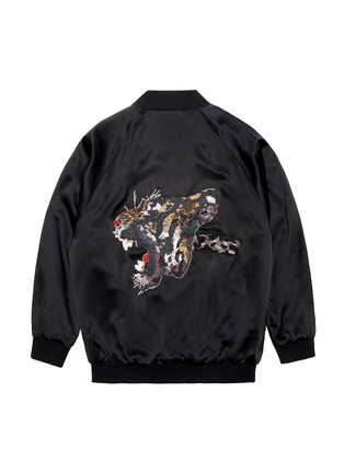 Main View - Click To Enlarge - Jay Ahr - Tiger embellished unisex silk satin bomber jacket