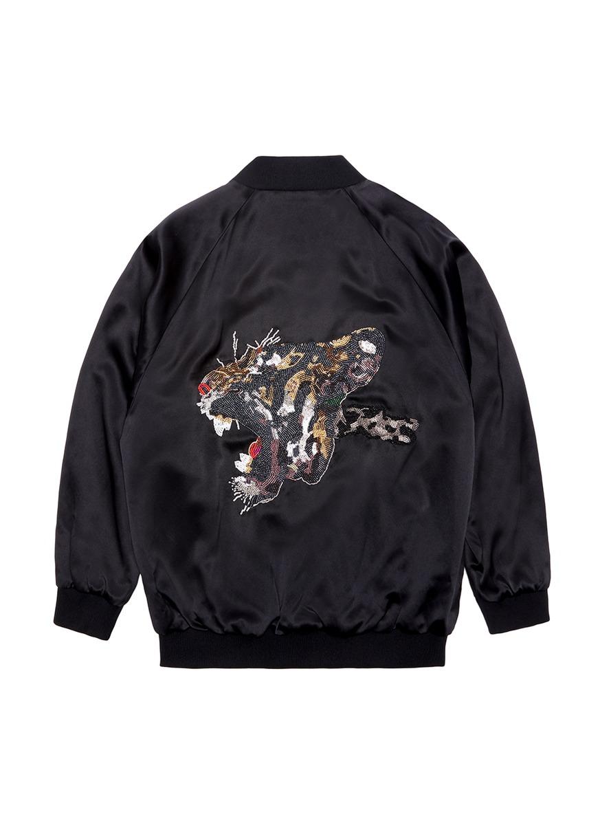 Tiger embellished unisex silk satin bomber jacket by Jay Ahr