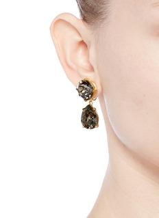 Kenneth Jay LaneGlass crystal pear drop clip earrings