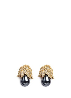 Kenneth Jay Lane Gold plated crystal pavé pear drop clip earrings