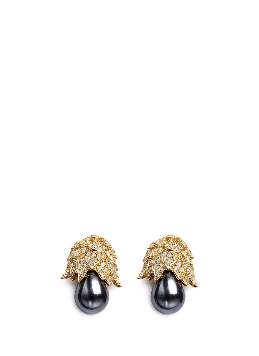 kenneth jay lane female gold plated crystal pave pear drop clip earrings