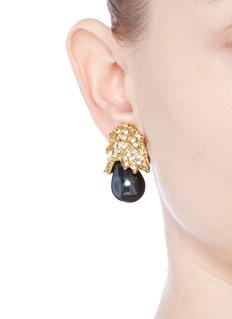 Kenneth Jay LaneGold plated crystal pavé pear drop clip earrings