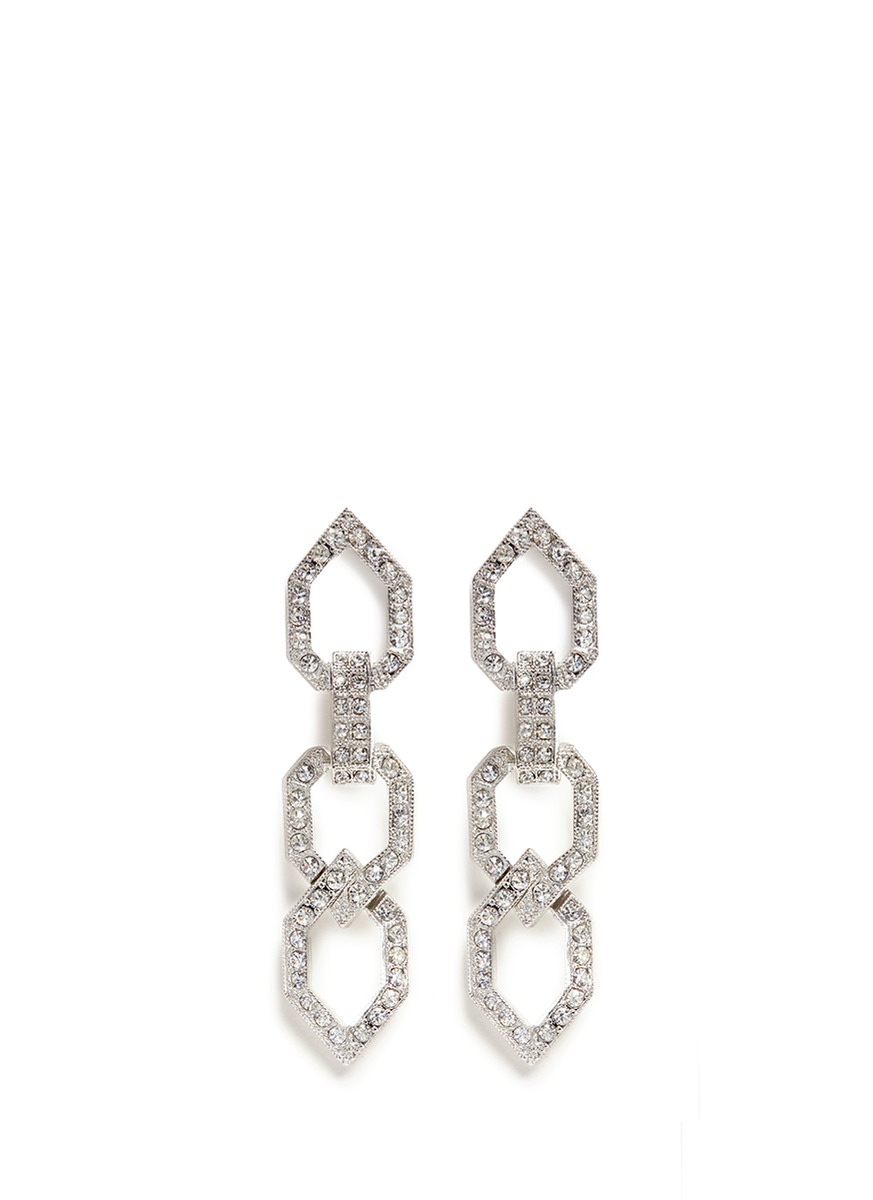 Glass crystal open link clip earrings by Kenneth Jay Lane