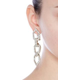 Kenneth Jay LaneGlass crystal open link clip earrings