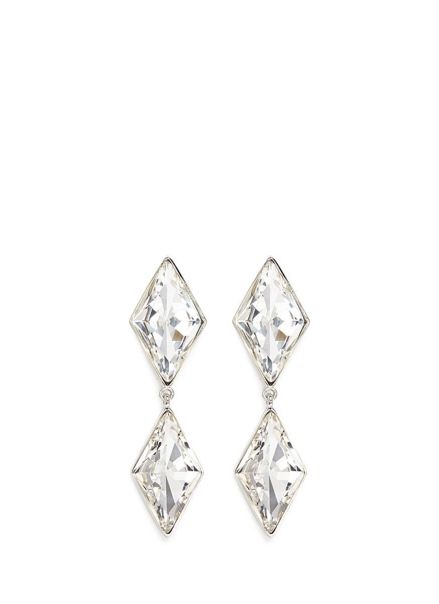 Rhombus cut glass stone drop clip earrings by Kenneth Jay Lane