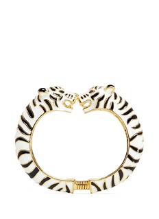 Kenneth Jay Lane Enamel double white tiger gold plated cuff