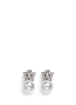 Main View - Click To Enlarge - Kenneth Jay Lane - Glass pearl crystal pavé floral clip earrings