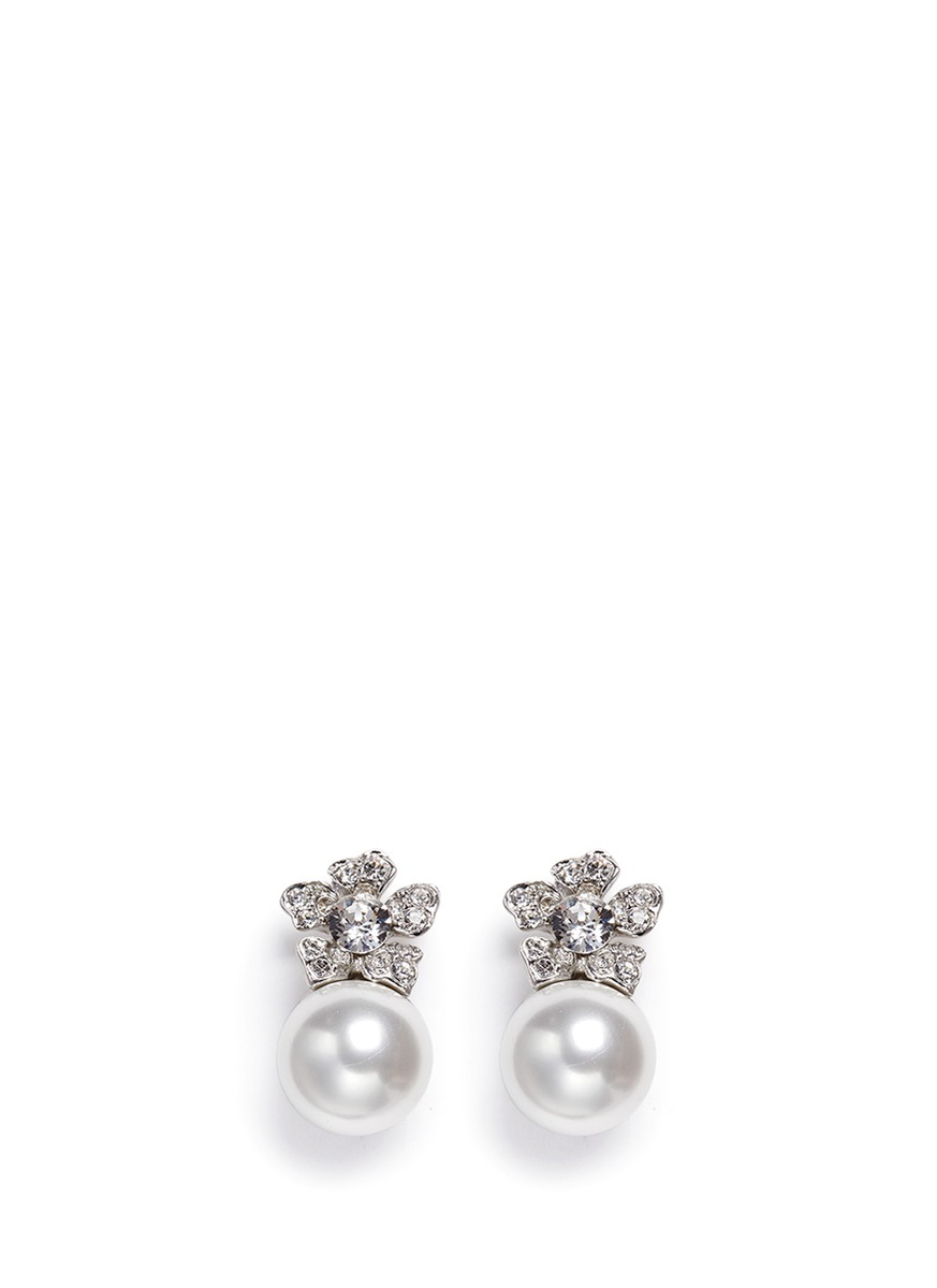 Glass pearl crystal pavé floral clip earrings by Kenneth Jay Lane