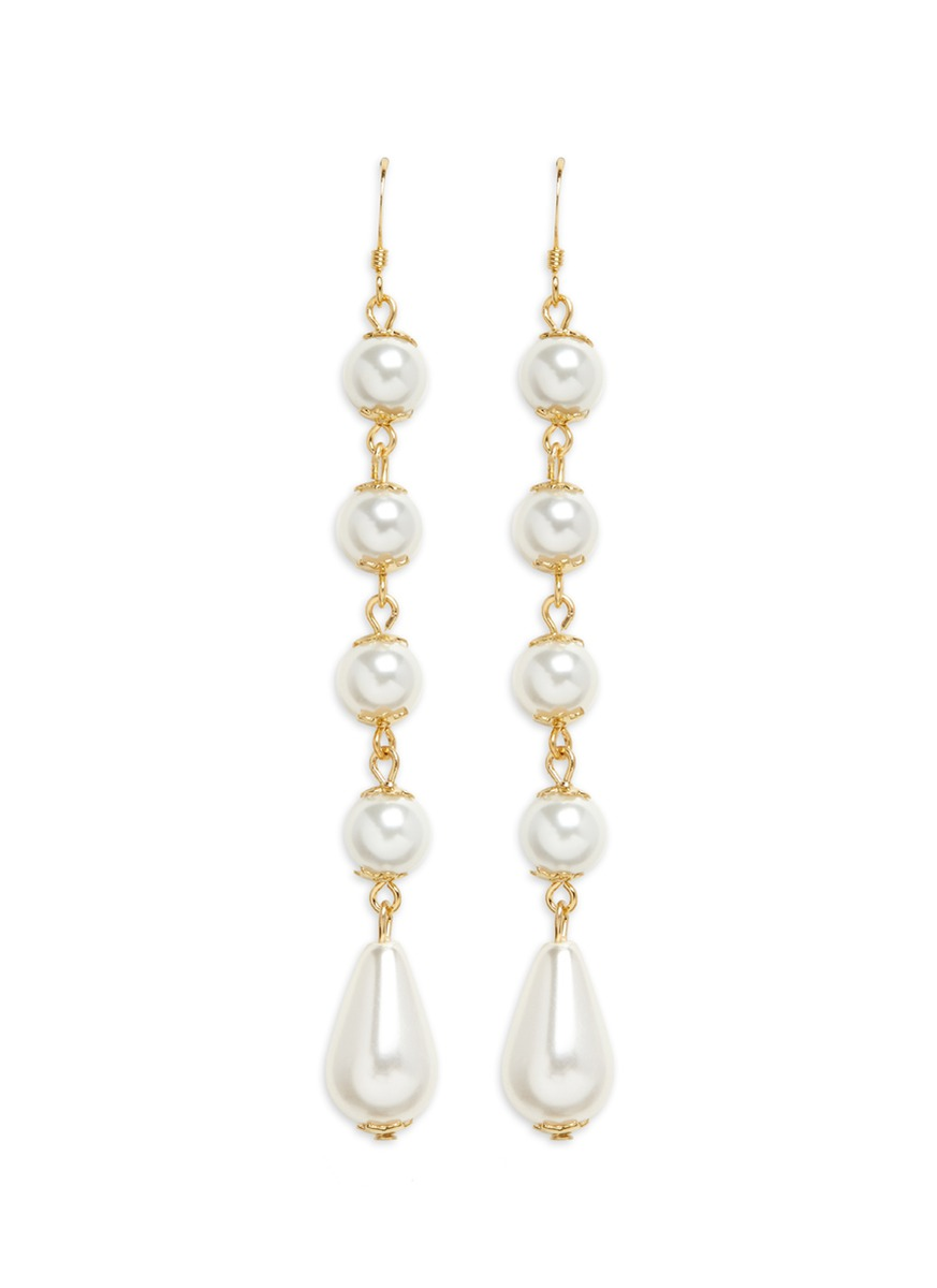 kenneth jay lane female gold plated linear pearl drop earrings