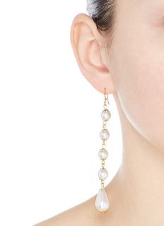 Kenneth Jay LaneGold plated linear pearl drop earrings