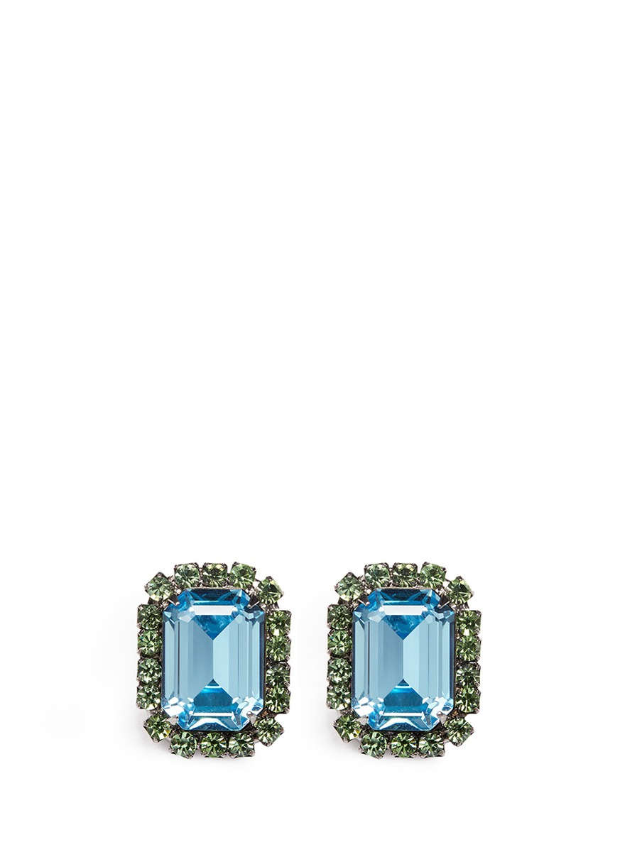 Emerald cut stone glass crystal pavé clip earrings by Kenneth Jay Lane