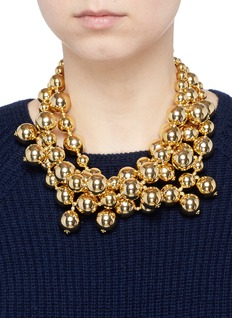 Kenneth Jay LaneTiered bead chain gold plated necklace