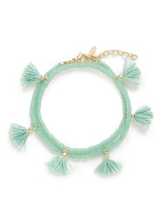 Shashi 'Laila' tassel beaded double wrap bracelet