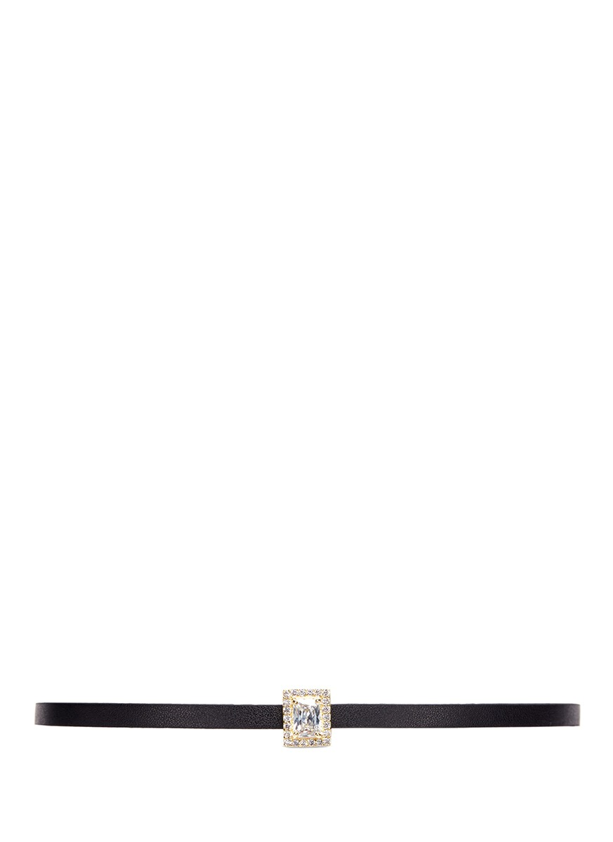 Radiant cut cubic zirconia pavé leather choker by CZ by Kenneth Jay Lane