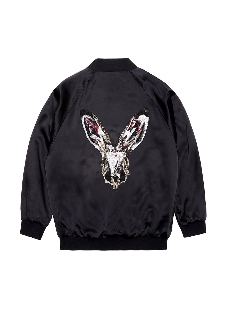 Rabbit embellished unisex silk satin bomber jacket by Jay Ahr