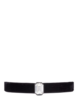 Main View - Click To Enlarge - Kenneth Jay Lane - Emerald cut glass crystal velvet choker