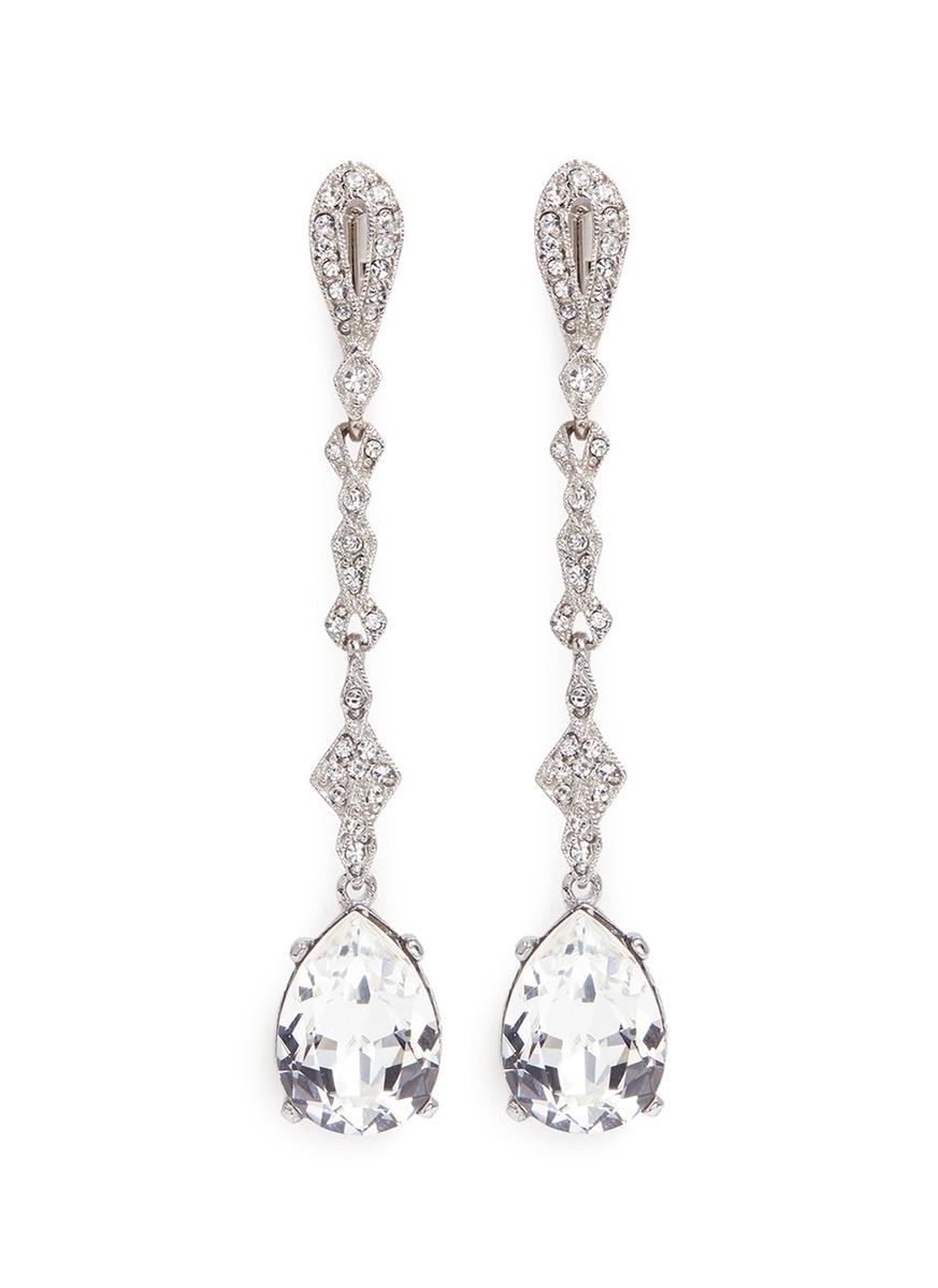 Glass crystal pavé pear drop clip earrings by Kenneth Jay Lane