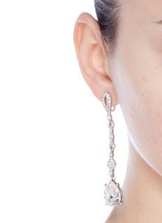 Kenneth Jay LaneGlass crystal pavé pear drop clip earrings
