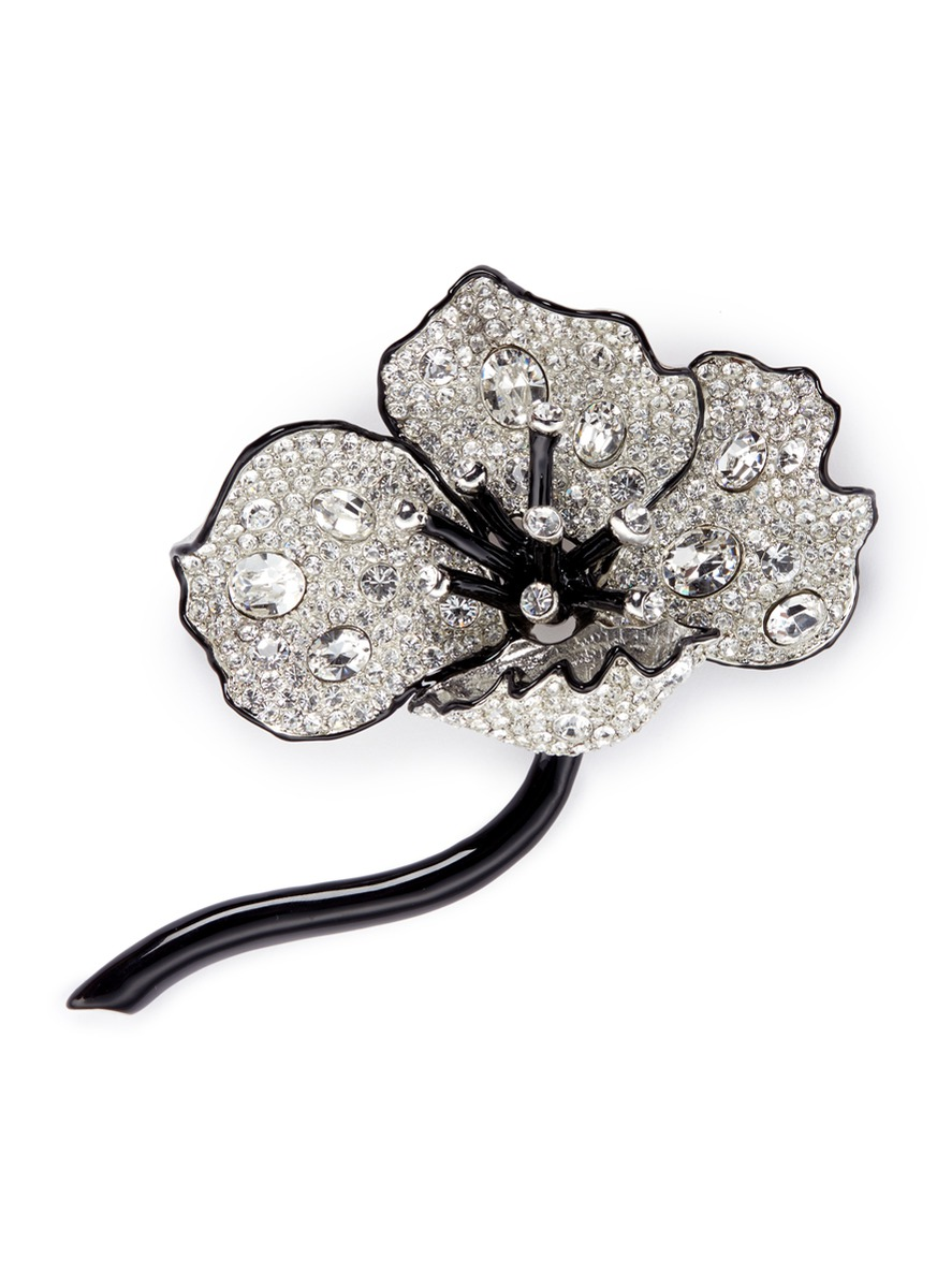 Glass crystal pavé floral brooch by Kenneth Jay Lane