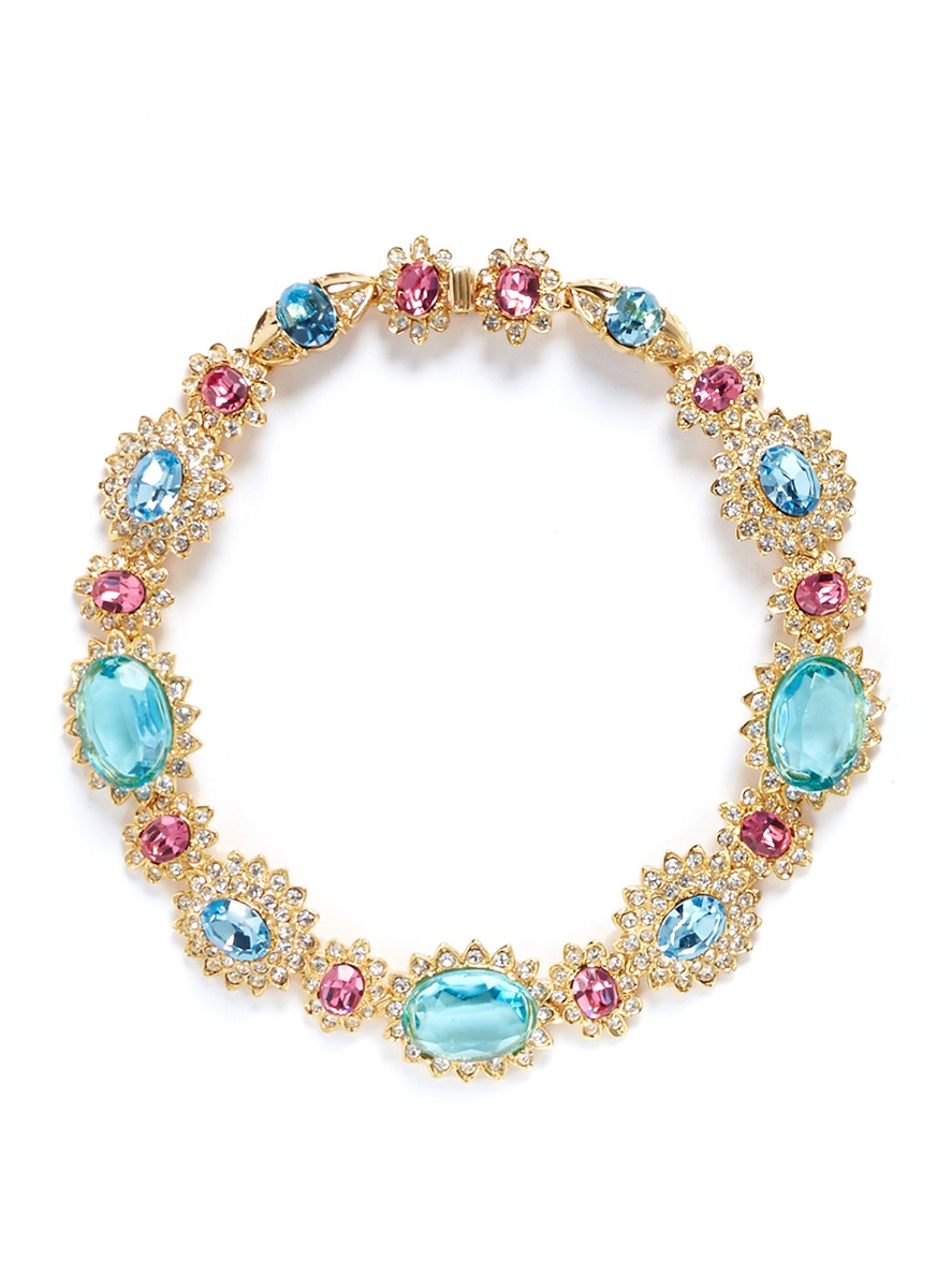 kenneth jay lane female crystal pave glass stone floral necklace