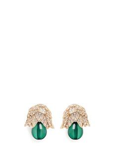 Kenneth Jay LaneGold plated crystal pavé resin drop clip earrings