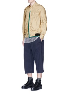 Sacai Canvas trim overydye cotton shirt