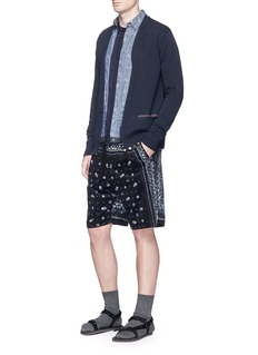 Sacai Pineapple jacquard drawstring hem chambray shirt