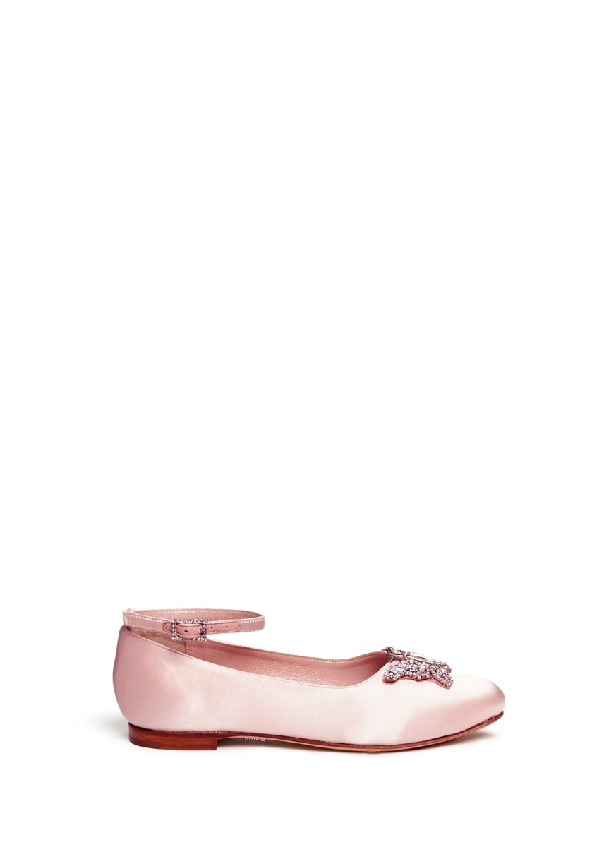 Crystal pavé butterfly satin kids flats by ARUNA SETH KIDS