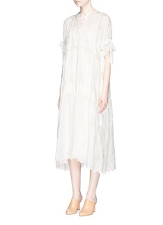 Ms MIN Broderie anglaise ribbon tie silk dress