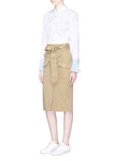 Comme MoiDetachable pleated stripe cuff cotton shirt