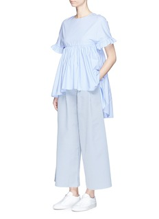 Xiao Li Pleated front stripe wide leg pants