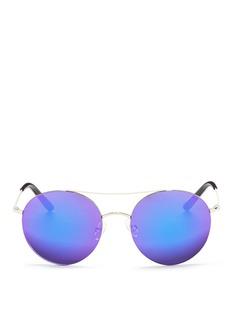 Matthew WilliamsonMetal round aviator mirror sunglasses