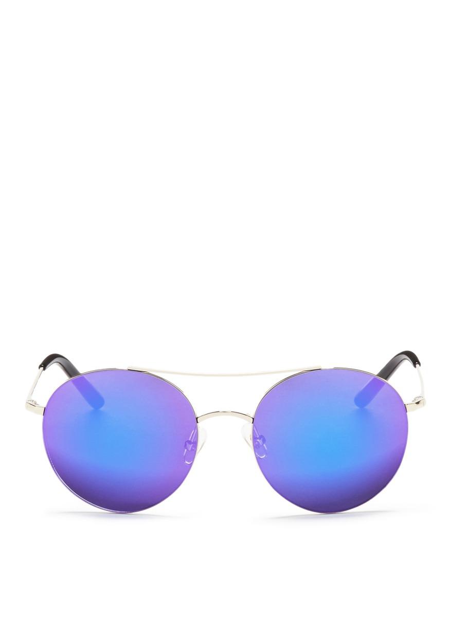 Metal round aviator mirror sunglasses by Matthew Williamson