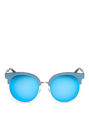 Main View - Click To Enlarge - Matthew Williamson - Wire rim oversized aluminium mirror sunglasses