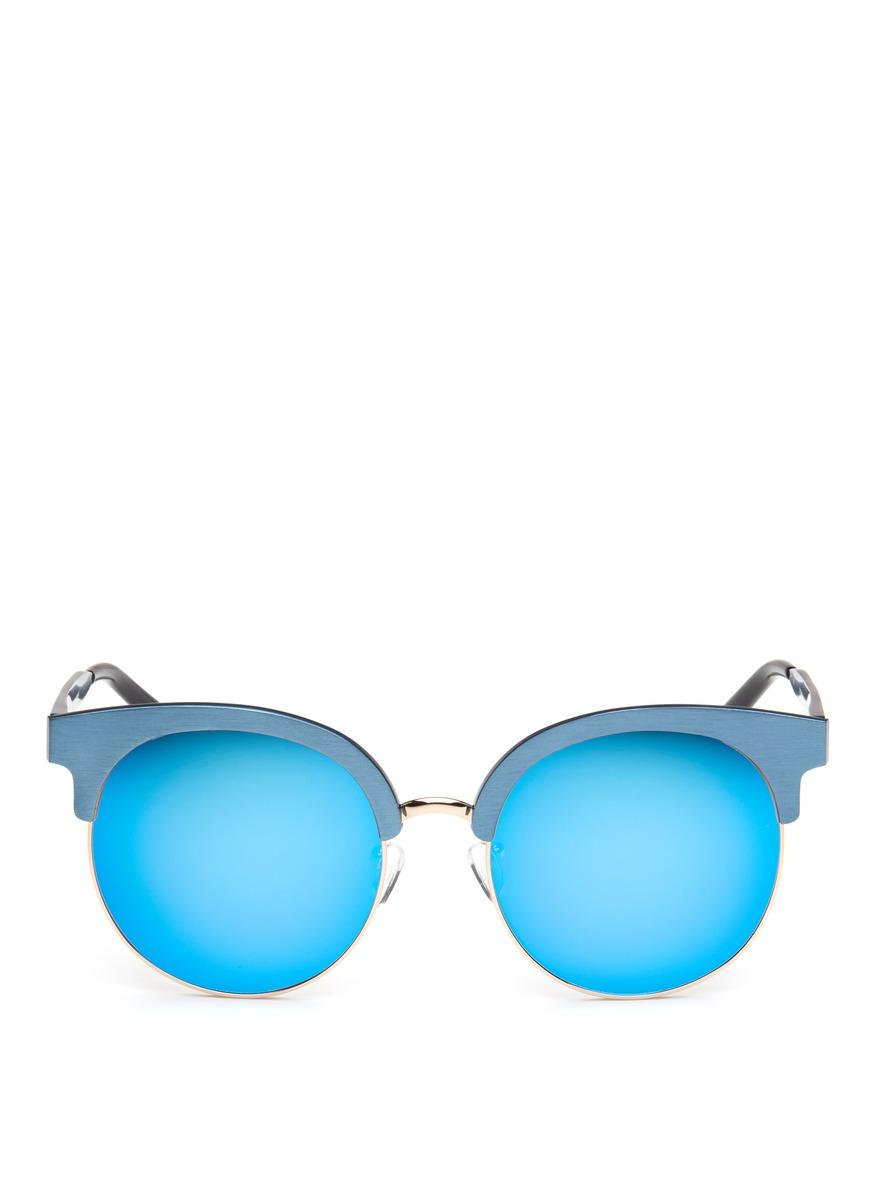 Wire rim oversized aluminium mirror sunglasses by Matthew Williamson