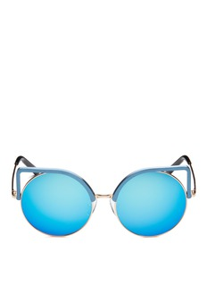 Matthew Williamson Aluminium cat eye round metal mirror sunglasses