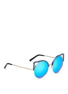 Matthew WilliamsonAluminium cat eye round metal mirror sunglasses