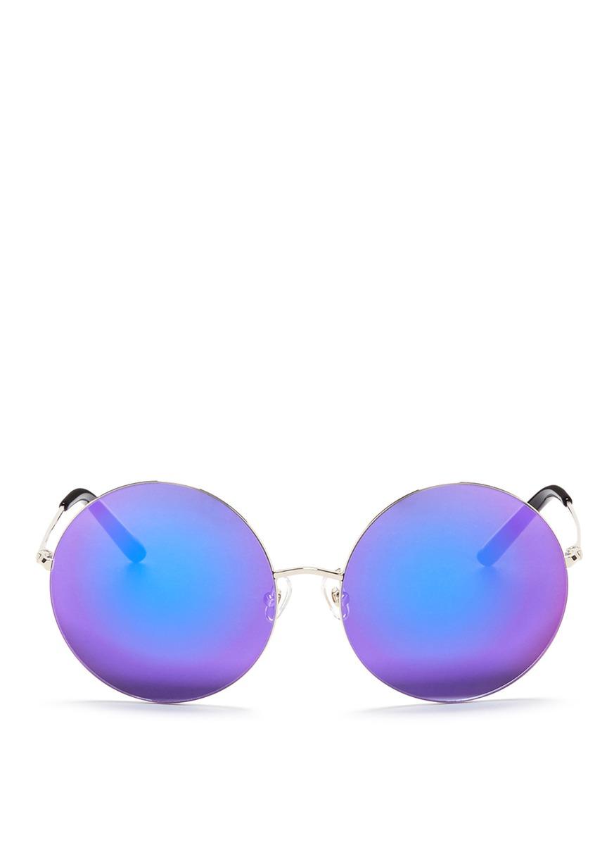 Oversized metal round mirror sunglasses by Matthew Williamson