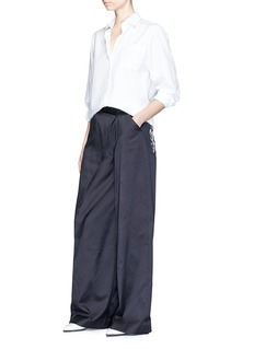 ADEAM Swirl embroidered deconstructed cotton blend pants