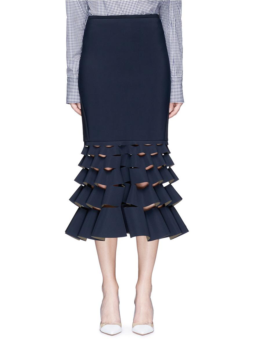 Slash cutout fishtail hem bonded jersey skirt by Dion Lee
