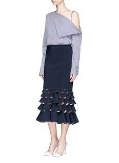 Dion Lee'Slash' cutout fishtail hem bonded jersey skirt